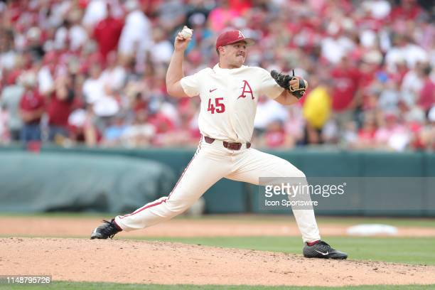 Arkansas pitcher Kevin Kopps pitches in Game 2 of the NCAA Super Regional between the Ole Miss Rebels and the Arkansas Razorbacks on June 09 at...