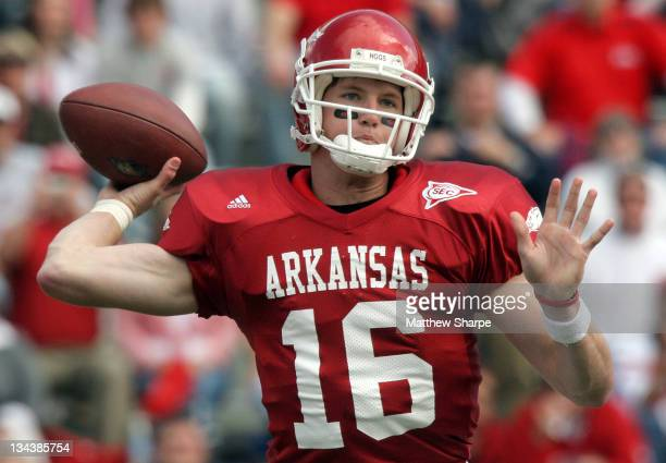Arkansas quarterback Mitch Mustain finds a receiver against Ole Miss at Donald W Reynolds Razorback Stadium in Fayetteville Ark on Saturday October...