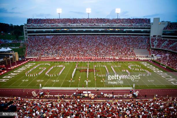 Arkansas Razorback band performs at halftime during a game against the Western Illinois Leathernecks at Donald W Reynolds Stadium on August 30 2008...