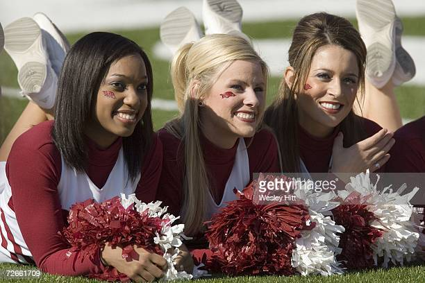 Arkansas Razorback Cheerleaders pose for photos before a game against the LSU Tigers at War Memorial Stadium on November 24, 2006 in Little Rock,...