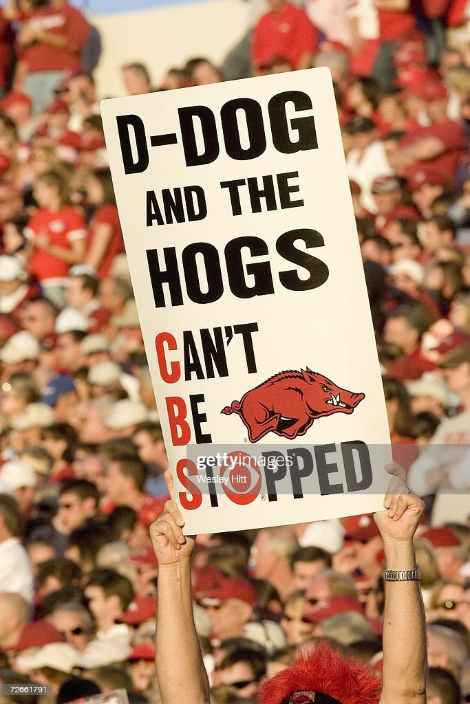 Arkansas Razorback fan holding up a sign during a game against the LSU Tigers at War Memorial Stadium on November 24, 2006 in Little Rock, Arkansas. LSU won 31-26