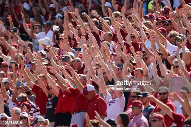 Arkansas Razorback fans raising their hands for the Woo Pig Sooie cheer during the North Texas Mean Green 4417 win over the Arkansas Razorbacks on...