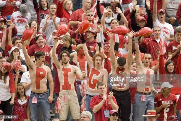 Arkansas Razorback student section fans cheer on their Hogs during a game against the Ole Miss Rebels at Reynolds Razorback Stadium on October 21,...