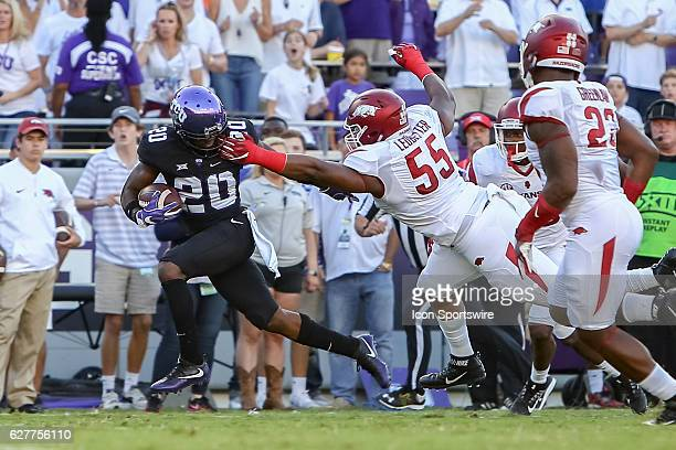 Arkansas Razorbacks defensive lineman Jeremiah Ledbetter appears to grab TCU Horned Frogs wide receiver Deante Gray face mask which leads to a fumble...