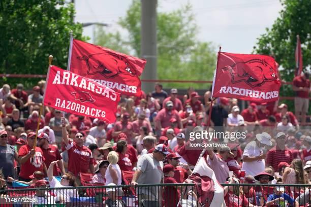 Arkansas Razorbacks flags flying in the Hog Pen during the NCAA Super Regional baseball game between the Arkansas Razorbacks and Ole Miss Rebels on...