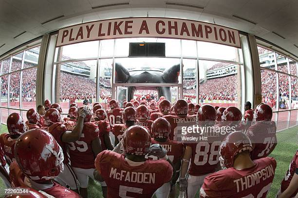 Arkansas Razorbacks getting ready to head through the tunnel before a game against the Ole Miss Rebels at Reynolds Razorback Stadium on October 21,...