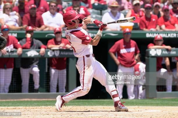 Arkansas Razorbacks infielder Casey Martin at bat during the NCAA Super Regional baseball game between the Arkansas Razorbacks and Ole Miss Rebels on...