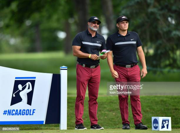 Arkansas Razorbacks Mason Overstreet and head coach Brad McMakin during round four of the 2017 Division I Men's Golf Championships on May 29 2017 at...