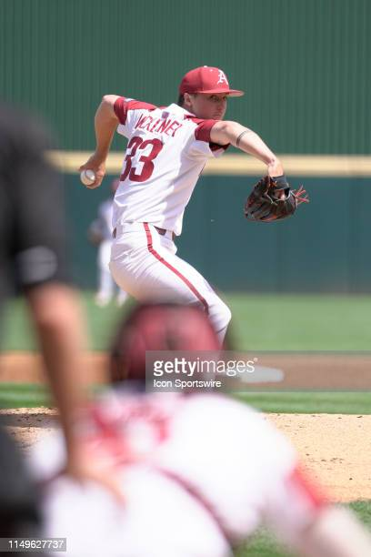 Arkansas Razorbacks pitcher Patrick Wicklander delivers a pitch during Game 3 of the NCAA Super Regional baseball game between the Arkansas...