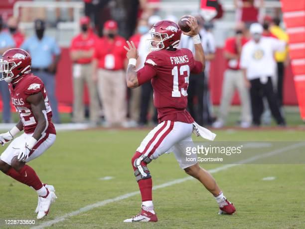 Arkansas Razorbacks quarterback Feleipe Franks passes the ball during the football game between the Arkansas Razorbacks and the Georgia Bulldogs on...