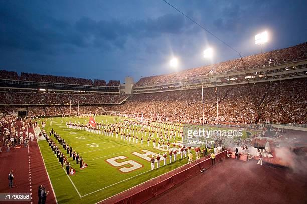 Arkansas Razorbacks run onto the field before a game against the USC Trojans on September 2, 2006 at Donald W. Reynolds Stadium in Fayetteville,...