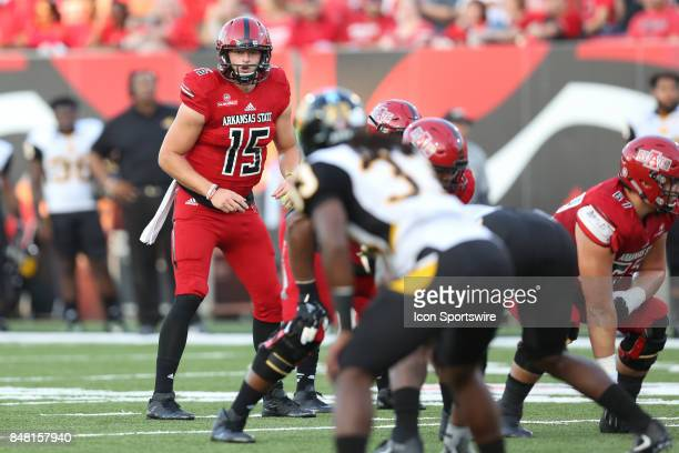 Arkansas State player Justice Hansen waits for the snap in the game between the University of Arkansas at Pine Bluff Golden Lions and the Arkansas...