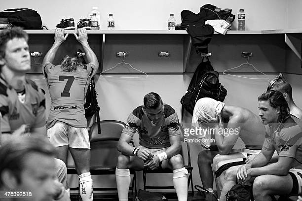 Arkansas State players reacts in the locker room after losing to Arizona in the Cup Quarter Finals during Day 2 of the Penn Mutual Collegiate Rugby...
