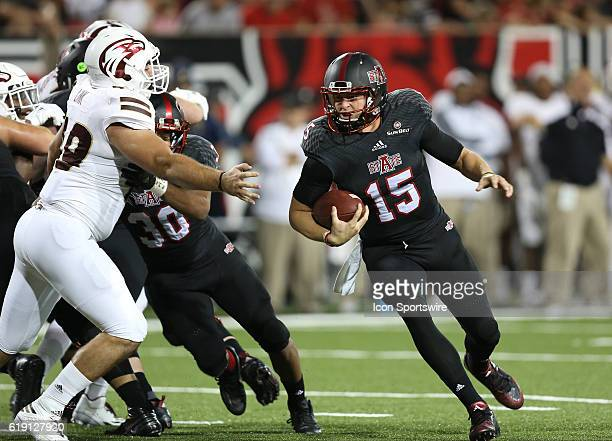 Arkansas State quarterback Justice Hansen runs for a touchdown in the game between the Arkansas State Red Wolves and the UL Monroe Warhawks on...