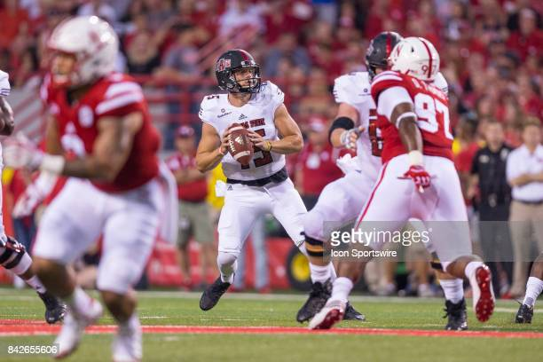 Arkansas State Red Wolves quarterback Justice Hansen drops back to pass during the first half against the Nebraska on September 02 2017 at Memorial...