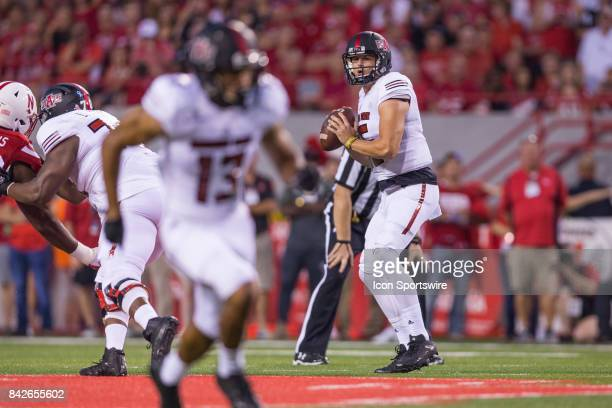 Arkansas State Red Wolves quarterback Justice Hansen is looking for a receiver during the first half against the Nebraska on September 02 2017 at...
