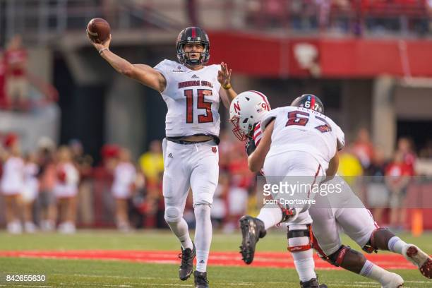 Arkansas State Red Wolves quarterback Justice Hansen throws a pass during the first half against the Nebraska on September 02 2017 at Memorial...