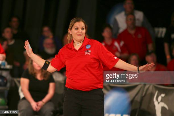 Arkansas State's Allie Lewis waits expectantly for the pins to drop during Arkansas State's six game loss to the University of Maryland Eastern Shore...