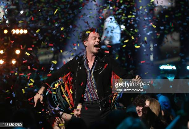 Arkells perform after winning the Group of the Year during the 2019 Juno Awards at Budweiser Gardens on March 17 2019 in London Canada