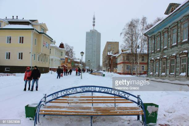 Arkhangelsk - Russia - North Pole - most famous and typical street with wooden house