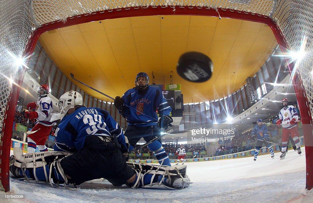 Arkhip Nekolenko Not Pictured Of Russia Scores His Teams Opening Goal Over Kaapo Kahkonen