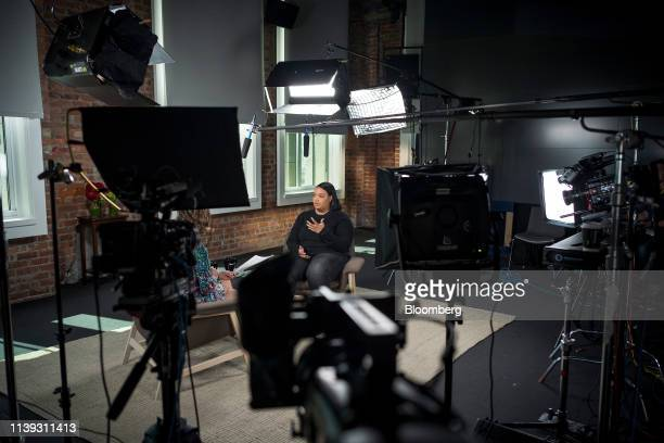 Arlan Hamilton founder and managing partner at Backstage Capital speaks during a Bloomberg Studio 10 television interview in San Francisco California...