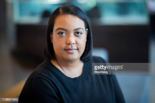 Arlan Hamilton founder and managing partner at Backstage Capital sits for a photograph after a Bloomberg Studio 10 television interview in San...