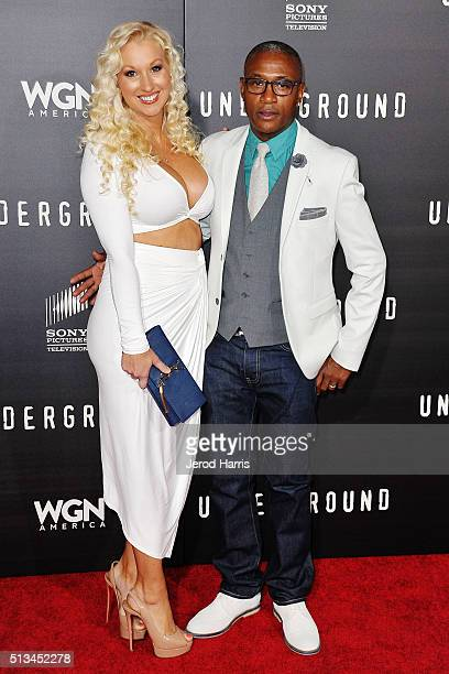 Arleen Davidson and Tommy Davidson arrive at the Premiere of WGN America's 'Underground' at The Theatre at The Ace Hotel on March 2 2016 in Los...