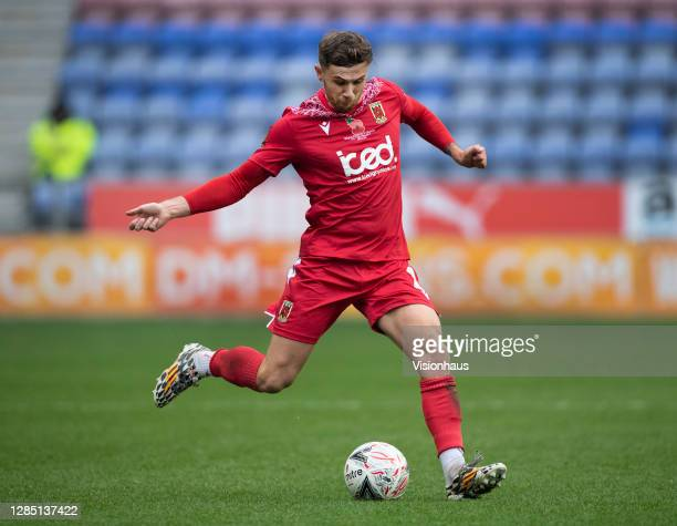 Arlen Birch of Chorley FC in action during the FA Cup 1st round match between Wigan Athletic and Chorley FC at the DW Stadium on November 8, 2020 in...