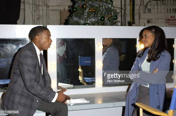 Arlen Escarpeta and Benita Krista Nall during On the Set of 'American Dreams' at Sunset Gower Studios in Hollywood CA United States