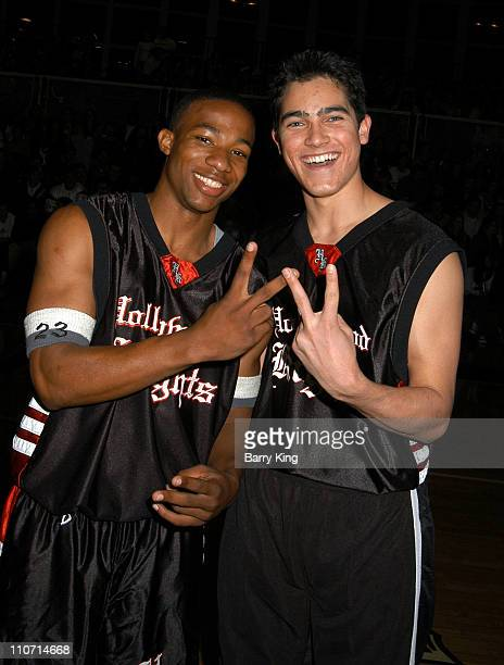 Arlen Escarpeta and Tyler Hoechlin during Hollywood Knights Charity Basketball Game Bellflower at St John Bosco High School in Bellflower California...