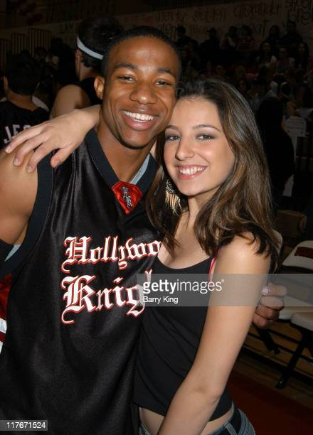 Arlen Escarpeta and Vanessa Lengies during Hollywood Knights Basketball Game April 7 2004 at Burroughs High School in Burbank California United States