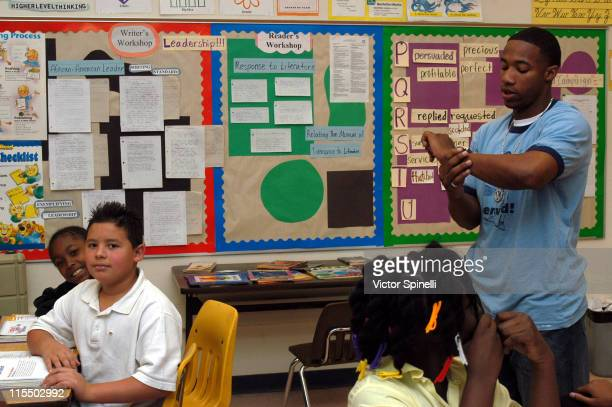Arlen Escarpeta during Celebrity Substitute with Arlen Escarpeta at Carver Elementary School in Compton California United States