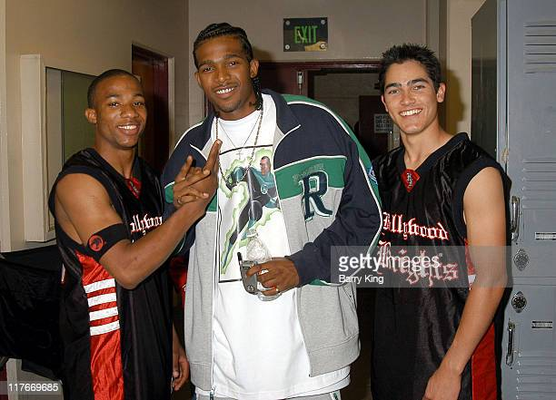 Arlen Escarpeta John Rich and Tyler Hoechlin during Hollywood Knights Basketball Game Van Nuys at Van Nuys High School in Van Nuys California United...