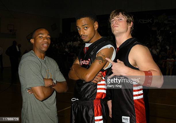 Arlen Escarpeta Teck Money and Mike Mizanin during Hollywood Knights Basketball Game Van Nuys at Van Nuys High School in Van Nuys California United...