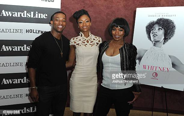 "Arlen Escarpeta, Yaya DaCosta and Angela Bassett attend the Awardsline/Deadline Hollywood Screening Of ""Whitney"" at the Landmark Theatre on June 4,..."
