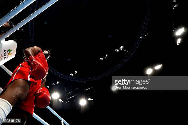 Arlen Lopez of Cuba looks on during the Men's Middle Final Bout against Bektemir Melikuziev of Uzbekistan on Day 15 of the Rio 2016 Olympic Games at...