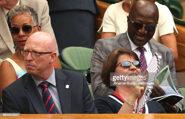 Arlene and Brian Foster in the royal box on centre court on day seven of the Wimbledon Championships at the All England Lawn Tennis and Croquet Club...