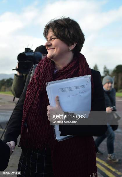 Arlene Foster attends a press conference after meeting with the British Prime Minister Theresa May at Stormont House on February 6 2019 in Belfast...