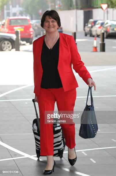 Arlene Foster DUP Leader seen at the BBC on May 6 2018 in London England