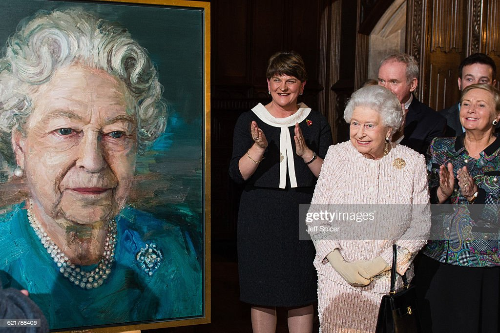Arlene Foster, First Minister of Northern Ireland, Queen Elizabeth II, Martin McGuinness, Deputy First Minister of Northern Ireland) and Frances Fitzgerald, Minister of Justice and Equality Gov of Ireland, attend a Co-Operation Ireland Reception at Crosby Hall on November 8, 2016 in London, England. During the reception The Queen unveiled a portrait of herself by artist Colin Davidson