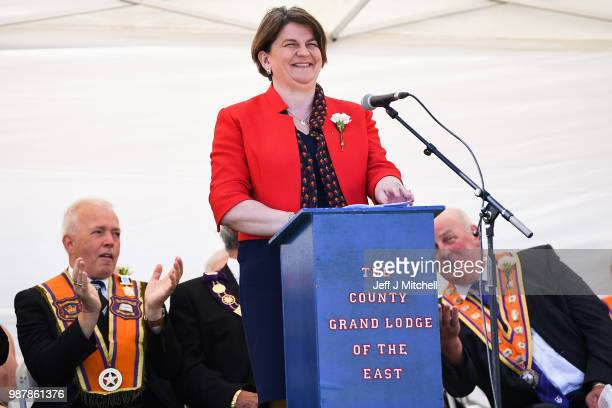 Arlene Foster leader of Northern Ireland's Democratic Unionist Party, addresses the County Grand Lodge of East of Scotland district meeting on June...