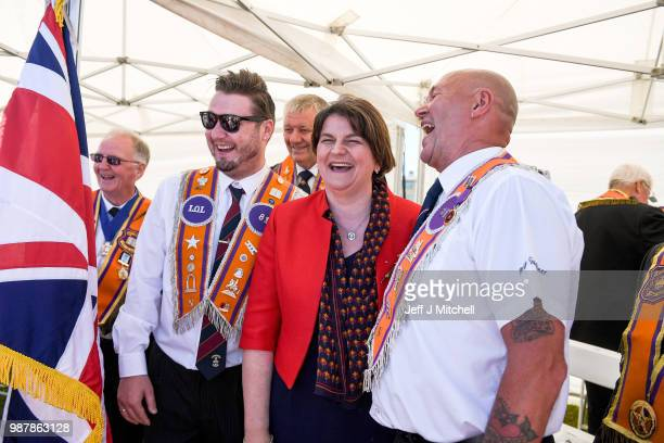 Arlene Foster leader of Northern Ireland's Democratic Unionist Party, attends the County Grand Lodge of East of Scotland district meeting on June 30,...