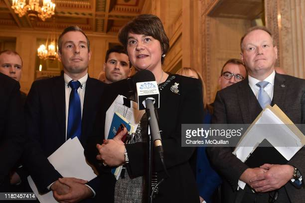 Arlene Foster, Leader of the Democratic Unionist Party speaks after a meeting of the Stormont Assembly on abortion rights and gay marriage on October...