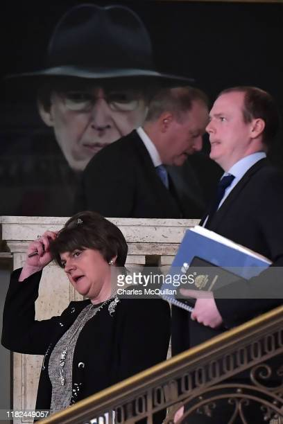 Arlene Foster, Leader of the Democratic Unionist Party walks past a painting of former Northern Ireland politician Ian Paisley as she attends a...
