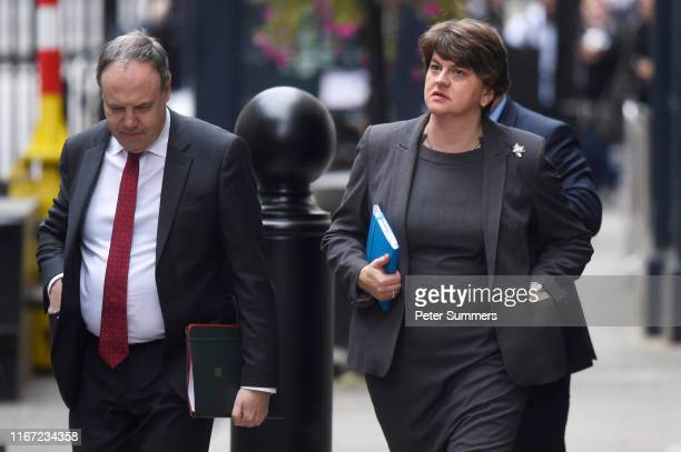 Arlene Foster, leader of the DUP and Nigel Dodds arrive at Downing Street for talks with UK Prime Minister, Boris Johnson on September 10, 2019 in...