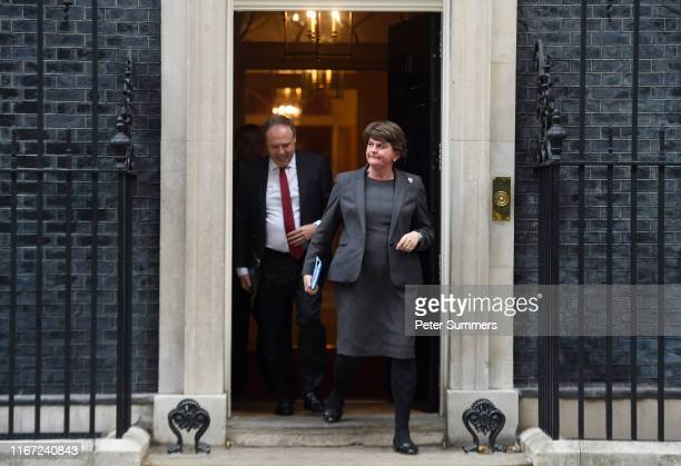 Arlene Foster, leader of the DUP and Nigel Dodds leave Downing Street following talks with UK Prime Minister, Boris Johnson on September 10, 2019 in...