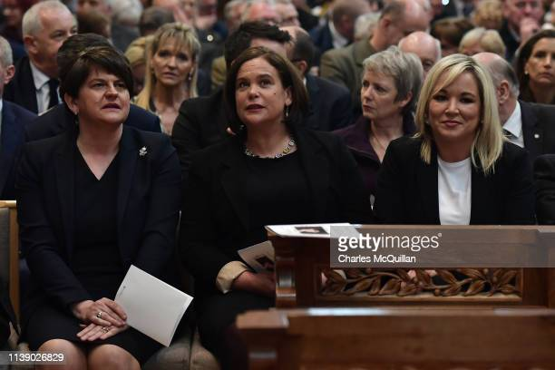 Arlene Foster leader of the DUP Mary Lou McDonald Leader of Sinn Fein and Michelle O'Neill Vice President of Sinn Fein attend the funeral service of...