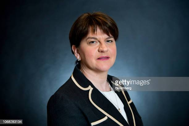 Arlene Foster leader of the Northern Ireland's Democratic Unionist Party poses for a photograph before a Bloomberg Television interview in London UK...