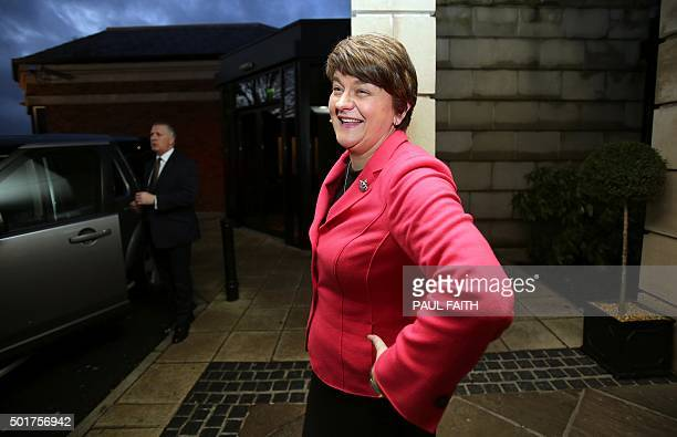 Arlene Foster, Northern Ireland Finance Minister arrives at a hotel in Belfast to be elected leader of the Democratic Unionist Party on December 17,...